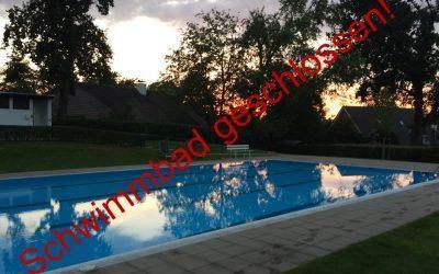 Das Schwimmbad ist ab Montag, 05.10., geschlossen