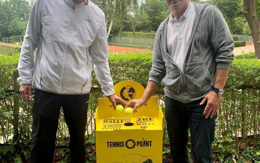 Recycling-Boxen für gebrauchte Tennisbälle