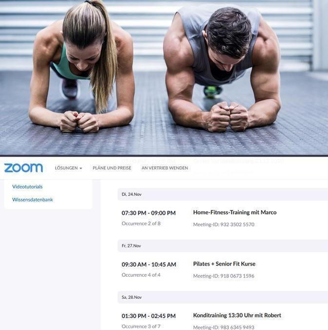 Online Fitnesskurse im Rochusclub